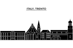 Italy, Trento architecture vector city skyline, travel cityscape with landmarks, buildings, isolated sights on background