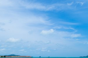 Sky, sea and islands.