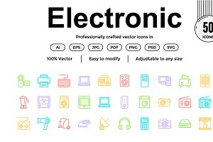 Electronics Colour Line Icons