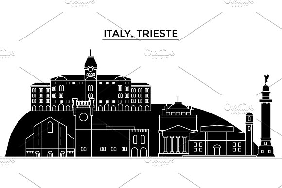Italy Trieste Architecture Vector City Skyline Travel Cityscape With Landmarks Buildings Isolated Sights On Background