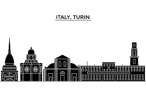 Italy, Turin architecture vector city skyline, travel cityscape with landmarks, buildings, isolated sights on background