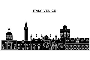 Italy, Venice architecture vector city skyline, travel cityscape with landmarks, buildings, isolated sights on background