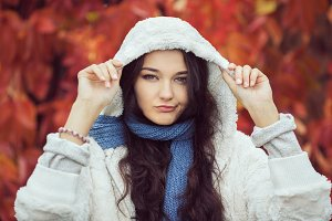 Unhappy Autumn Woman Fashion Model Portrait
