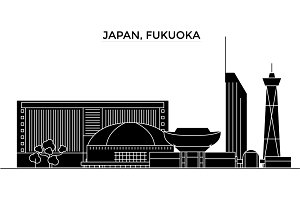 Japan, Fukuoka architecture vector city skyline, travel cityscape with landmarks, buildings, isolated sights on background