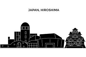 Japan, Hiroshima architecture vector city skyline, travel cityscape with landmarks, buildings, isolated sights on background