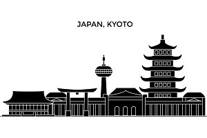 Japan, Kyoto architecture vector city skyline, travel cityscape with landmarks, buildings, isolated sights on background