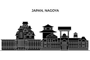 Japan, Nagoya architecture vector city skyline, travel cityscape with landmarks, buildings, isolated sights on background