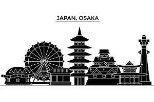 Japan, Osaka architecture vector city skyline, travel cityscape with landmarks, buildings, isolated sights on background
