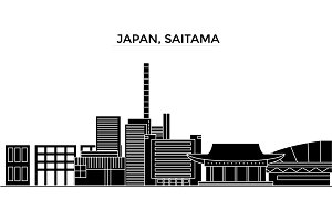 Japan, Saitama architecture vector city skyline, travel cityscape with landmarks, buildings, isolated sights on background