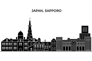 Japan, Sapporo architecture vector city skyline, travel cityscape with landmarks, buildings, isolated sights on background