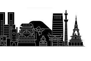 Japan, Tokyo architecture vector city skyline, travel cityscape with landmarks, buildings, isolated sights on background