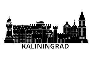 Kaliningrad architecture vector city skyline, travel cityscape with landmarks, buildings, isolated sights on background