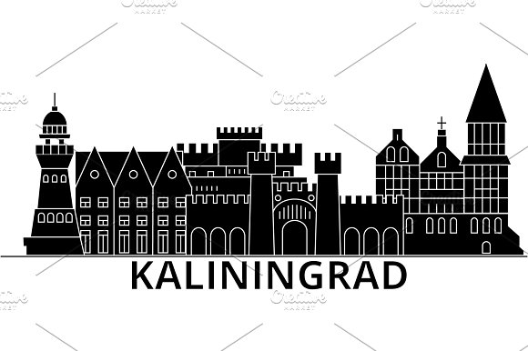 Kaliningrad Architecture Vector City Skyline Travel Cityscape With Landmarks Buildings Isolated Sights On Background