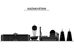 Kazakhstan architecture vector city skyline, travel cityscape with landmarks, buildings, isolated sights on background