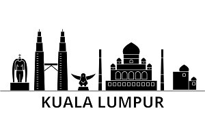 Kuala Lumpur   Malaysia architecture vector city skyline, travel cityscape with landmarks, buildings, isolated sights on background
