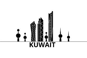Kuwait architecture vector city skyline, travel cityscape with landmarks, buildings, isolated sights on background