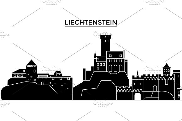 Liechtenstein architecture vector city skyline, travel cityscape with landmarks, buildings, isolated sights on background