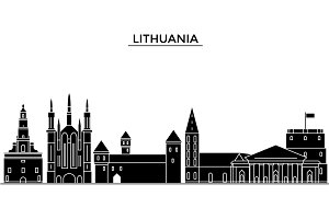 Lithuania architecture vector city skyline, travel cityscape with landmarks, buildings, isolated sights on background