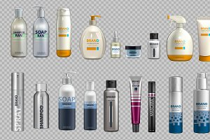 Vector cosmetic bottles mockup