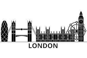 London architecture vector city skyline, travel cityscape with landmarks, buildings, isolated sights on background