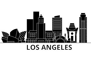 Los Angeles architecture vector city skyline, travel cityscape with landmarks, buildings, isolated sights on background