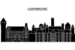 Luxembourg architecture vector city skyline, travel cityscape with landmarks, buildings, isolated sights on background