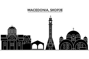 Macedonia, Skopje architecture vector city skyline, travel cityscape with landmarks, buildings, isolated sights on background