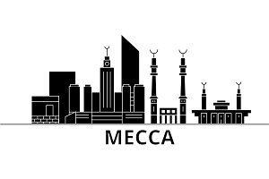 Mecca architecture vector city skyline, travel cityscape with landmarks, buildings, isolated sights on background