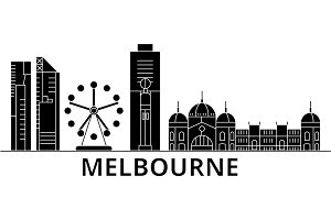 Melbourne architecture vector city skyline, travel cityscape with landmarks, buildings, isolated sights on background