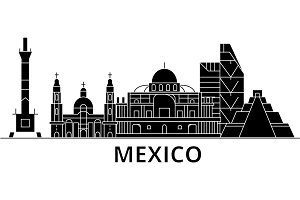 Mexico architecture vector city skyline, travel cityscape with landmarks, buildings, isolated sights on background