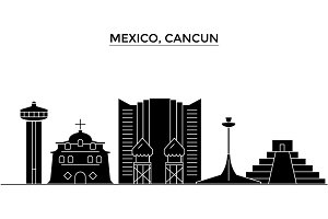 Mexico, Cancun architecture vector city skyline, travel cityscape with landmarks, buildings, isolated sights on background