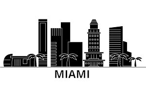 Miami architecture vector city skyline, travel cityscape with landmarks, buildings, isolated sights on background