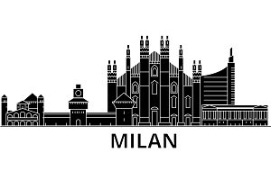 Milan architecture vector city skyline, travel cityscape with landmarks, buildings, isolated sights on background