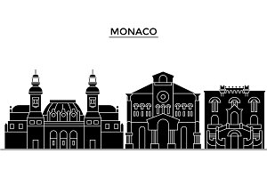 Monaco architecture vector city skyline, travel cityscape with landmarks, buildings, isolated sights on background