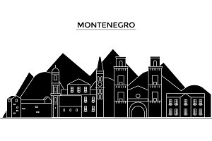 Montenegro architecture vector city skyline, travel cityscape with landmarks, buildings, isolated sights on background