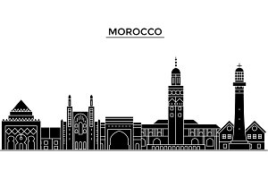 Morocco architecture vector city skyline, travel cityscape with landmarks, buildings, isolated sights on background