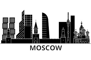 Moscow architecture vector city skyline, travel cityscape with landmarks, buildings, isolated sights on background
