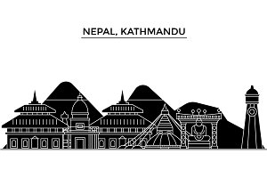 Nepal, Kathmandu architecture vector city skyline, travel cityscape with landmarks, buildings, isolated sights on background