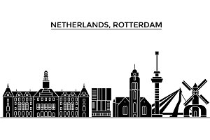 Netherlands, Rotterdam architecture vector city skyline, travel cityscape with landmarks, buildings, isolated sights on background