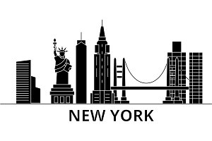 New York architecture vector city skyline, travel cityscape with landmarks, buildings, isolated sights on background
