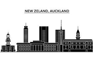 New Zeland, Auckland architecture vector city skyline, travel cityscape with landmarks, buildings, isolated sights on background