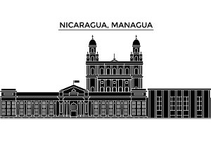 Nicaragua, Managua architecture vector city skyline, travel cityscape with landmarks, buildings, isolated sights on background