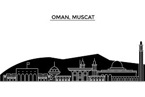 Oman, Muscat architecture vector city skyline, travel cityscape with landmarks, buildings, isolated sights on background