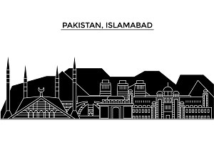 Pakistan, Islamabad architecture vector city skyline, travel cityscape with landmarks, buildings, isolated sights on background