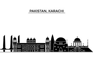 Pakistan, Karachi architecture vector city skyline, travel cityscape with landmarks, buildings, isolated sights on background