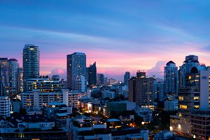 Panorama Bangkok city at evening.