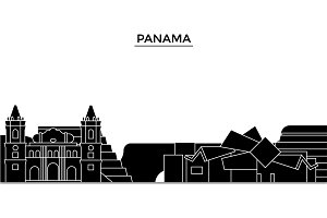 Panama architecture vector city skyline, travel cityscape with landmarks, buildings, isolated sights on background