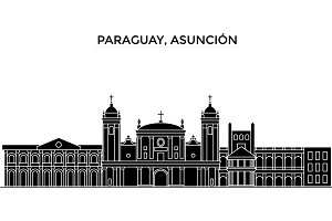 Paraguay, Asuncion architecture vector city skyline, black cityscape with landmarks, isolated sights on background