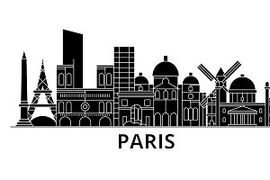 Paris architecture vector city skyline, travel cityscape with landmarks, buildings, isolated sights on background