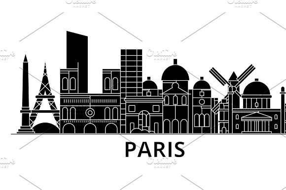 Paris Architecture Vector City Skyline Travel Cityscape With Landmarks Buildings Isolated Sights On Background